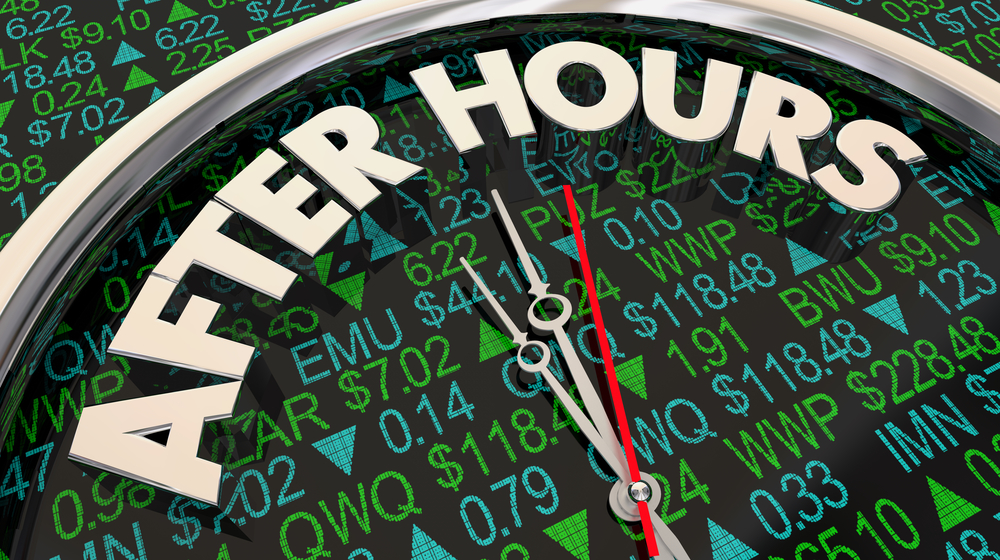 After Hours Trading Stock Market Ticker Time Clock 3d Illustration